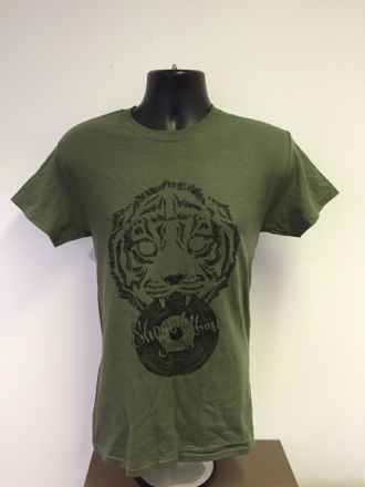 Shere Khan Sound T-Shirt w/ Tiger Holding Dubplate - Military Green/ Black Print (Various Sizes)